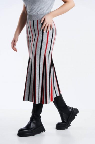 Fusta Amavi din tricot in dungi Gri