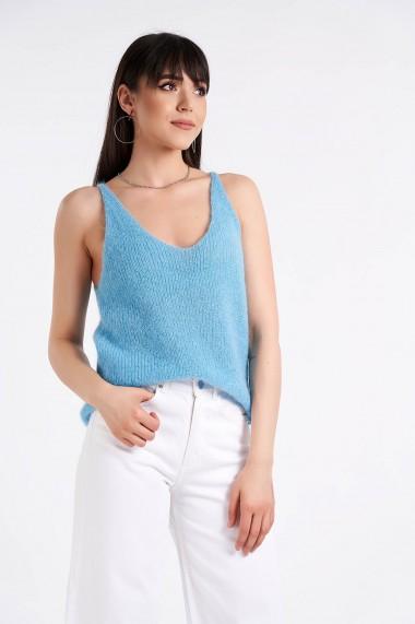Maiou Amavi tricotat din lana si mohair Albastru