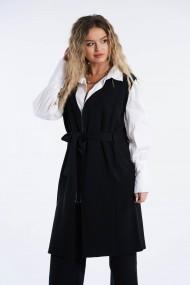 Cardigan Amavi din tricot cu croi drept si cordon Negru