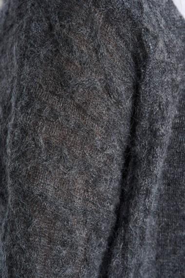 Cardigan Amavi din lana cu torsade Gri
