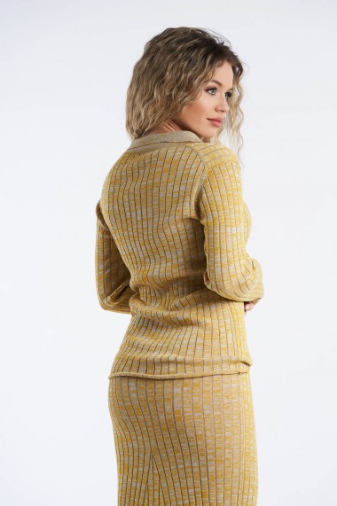 Bluza Amavi din tricot cu maneca lunga si nasturi Galben