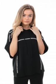 Hanorac Amavi tricotat cu gluga Negru