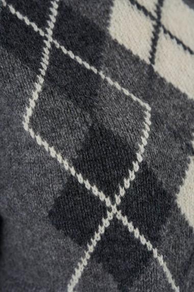 Pulover din casmir si tricot Amavi cu romburi Gri