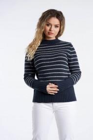 Pulover Amavi din tricot cu dungi Bleumarin