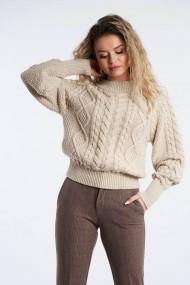 Pulover Amavi din tricot cu structura Bej