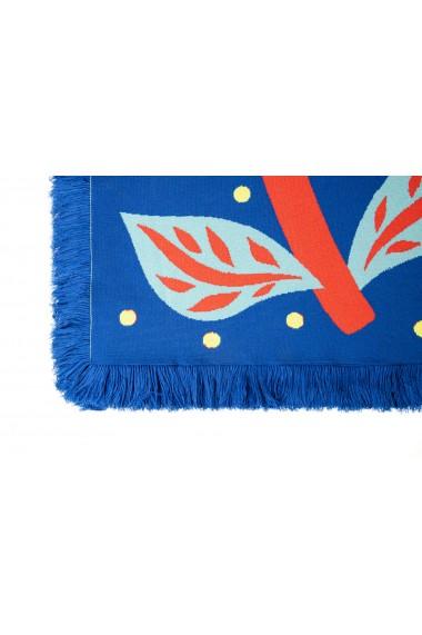 Patura Amavi din bumbac cu print floral Albastru