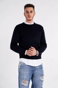 Pulover Amavi tricotat din lana Albastru