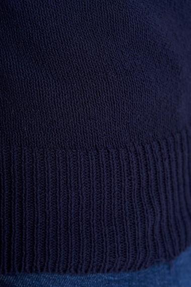 Pulover Amavi din bumbac cu marginile desirate Albastru