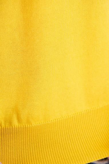 Pulover Amavi din bumbac cu guler rotund Galben
