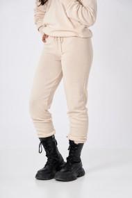 Pantaloni Amavi din lana jogging fit Crem