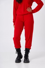Pantaloni Amavi din lana jogging fit Rosu