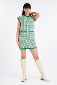 Rochie Amavi tricotata cu print Alb