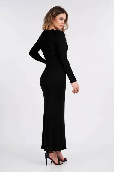 Rochie Amavi tricotata lunga cu croi usor in clos si fir metalizat Negru