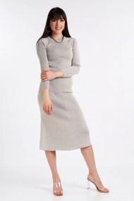 Rochie Amavi tricotata midi cu croi usor in clos Gri