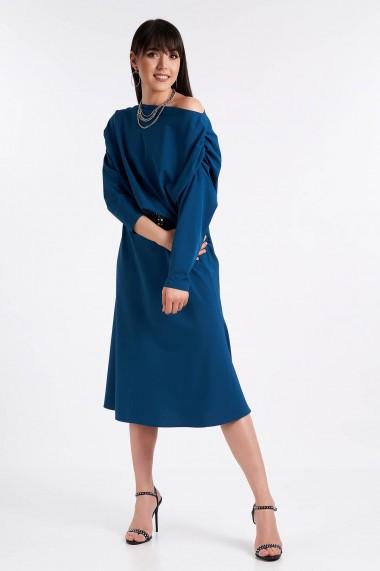 Rochie Amavi midi cu maneca lunga Albastru