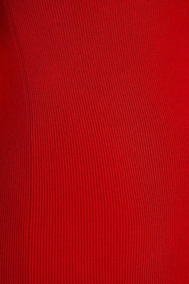 Rochie Amavi tricotata midi cu croi usor in clos Rosu
