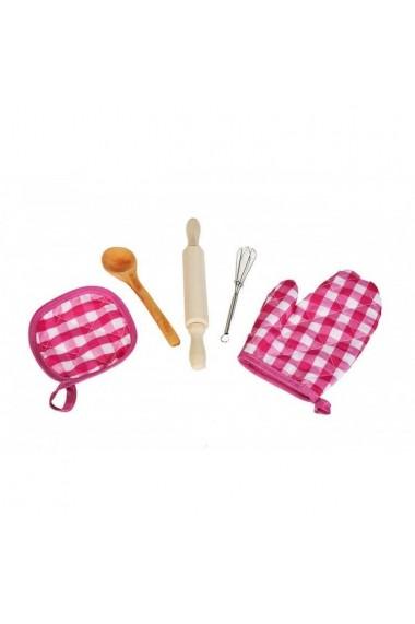 Set de bucatarie Malplay Sort si boneta pentru fete cu accesorii incluse roz