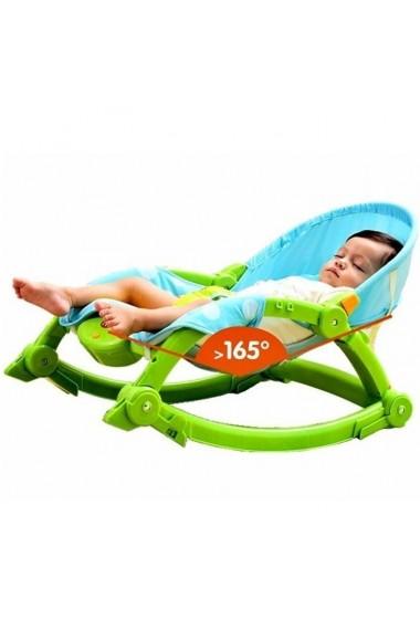 Scaun si balansoar MalPlay cu vibratii ,jucarii detasabile pentru bebelusi, verde/albastru 0 - 18 kg