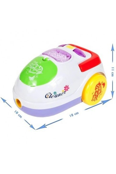 Aspirator de jucarie Malplay pentru copii cu lumina, sunete si bile care pot fi aspirate, 18 cm