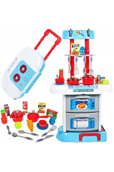 Bucatarie 3 in 1 Malplay tip troler pentru copii cu accesorii,sunete, lumini , Albastru