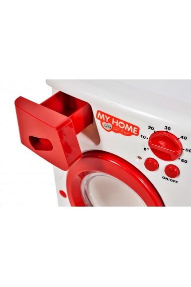Jucarie interactiva Malplay masina de spalat rufe automata cuva rotativa alb-rosu