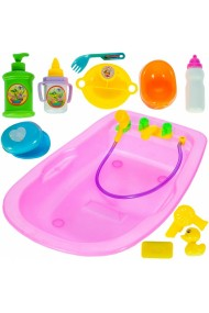 Set de joaca Malplay Cadita baie pentru papusi cu 12 accesorii