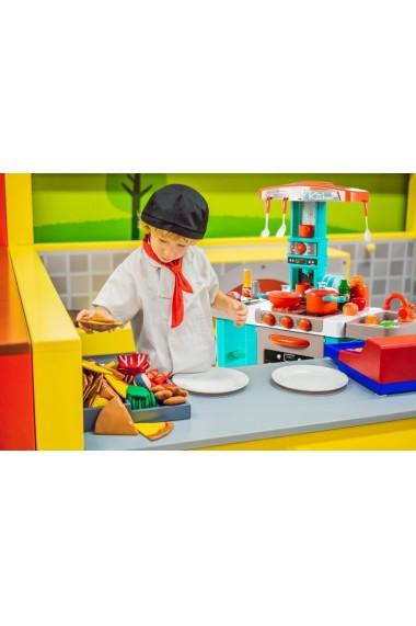 Bucatarie pentru copii MalPLay cu electrocasnice, lumini si sunete, turcoaz inaltime 87 cm