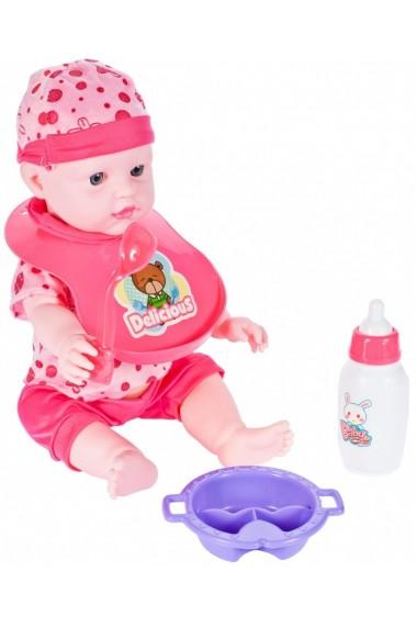 Set de joaca Malplay Bebelus cu pat balansoar si accesorii pentru hrana roz