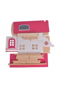 Casuta din lemn pentru papusi MalPlay supraetajata cu accesorii, 53 cm, Roz