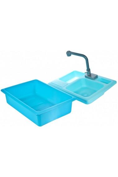 Chiuveta de bucatarie MalPlay pentru copii cu accesorii Albastra