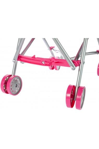 Carucior pentru papusi Malplay cu cadru metalic pliabil fucsia cu unicorn