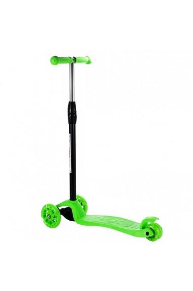 Trotineta pentru copii MalPlay reglabila, cu roti luminoase, Verde