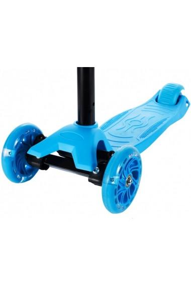 Trotineta pentru copii MalPlay reglabila, cu roti luminoase, Albastra