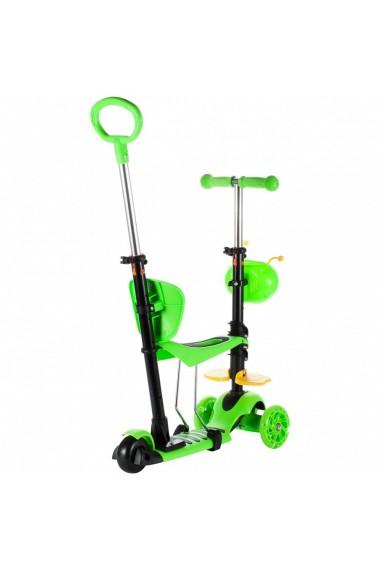 Trotineta pentru copii MalPlay cu maner de impins ,scaunel, cosulet albinuta si roti luminoase, Verde
