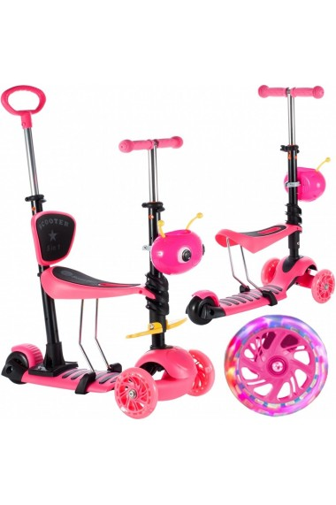 Trotineta pentru copii MalPlay cu maner de impins ,scaunel, cosulet albinuta si roti luminoase, Roz