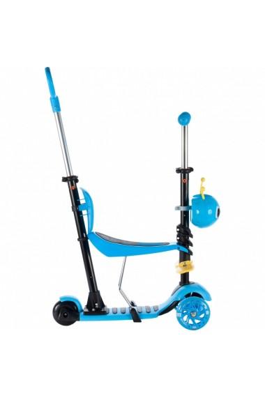 Trotineta pentru copii MalPlay cu maner de impins ,scaunel, cosulet albinuta si roti luminoase, Albastru