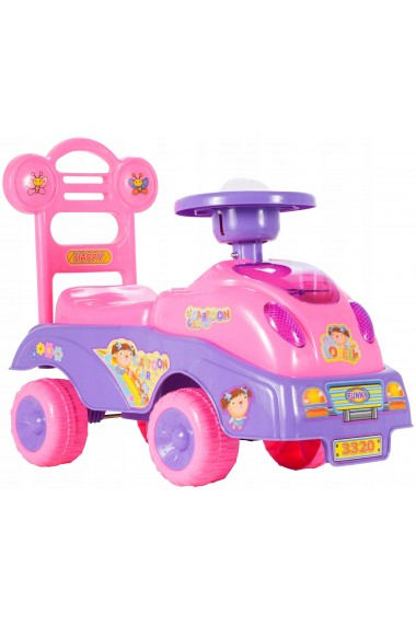 Masina fara pedale MalPlay pentru fetite cu sunte si lumini, Roz