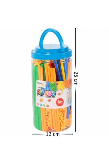 Set de construit MalPlay cu paie si accesorii pentru imbinat multicolore, 300 buc