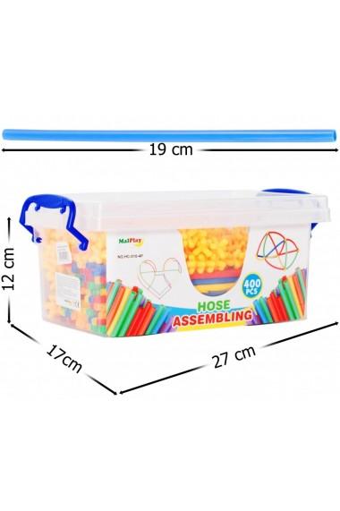 Set de construit MalPlay cu paie si accesorii pentru imbinat multicolore, 400 buc