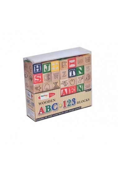 Cuburi din lemn MalPlay cu litere,cifre si diferite simboluri cu saculet pentru depozitare,Multicolor,50 bucati