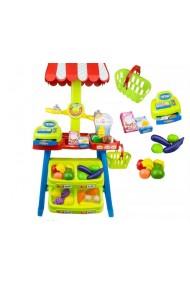 Magazin pentru copii Malplay SuperMarket cu 30 de Accesorii, Casa de Marcat, Cantar, Cos de cumparaturi, Alimente