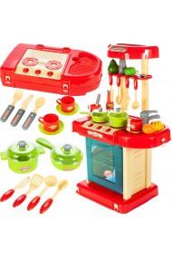 Set de joaca Bucatarie MalPlay in valiza portabila cu accesorii, cos de cumparaturi ,sunete,lumini, Rosie