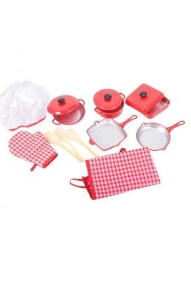 Set de bucatarie pentru copii MalPlay cu ustensile, manusa, sort si boneta 11 piese