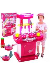 Set de joaca MalPlay Bucatarie pentru fetite in valiza portabila cu accesorii, Roz