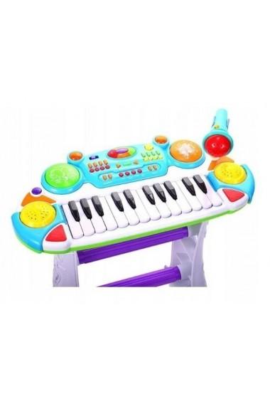 Instrument Muzical Pianina electronica MalPlay cu scaun si microfon 45 cm inaltime Albastra