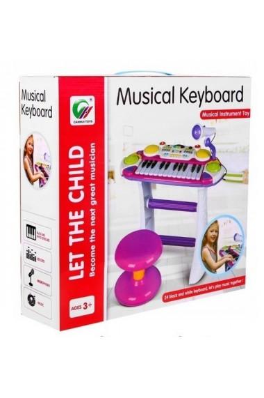 Instrument muzical Pianina electronica MalPlay cu scaun si microfon 45 cm inaltime Roz