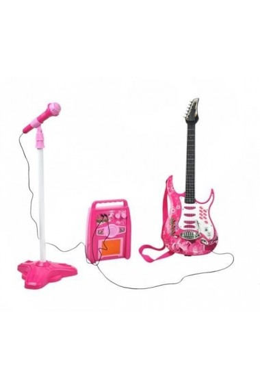 Chitara pentru copii MalPlay cu amplificator, MP3 si microfon, Roz