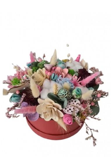 Aranjament cu flori naturale uscate si criogenate