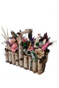 Aranjament rustic cu flori naturale uscate si criogenate
