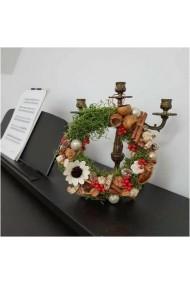 Coronita cu licheni, flori uscate si flori criogenate, diametru 30 cm